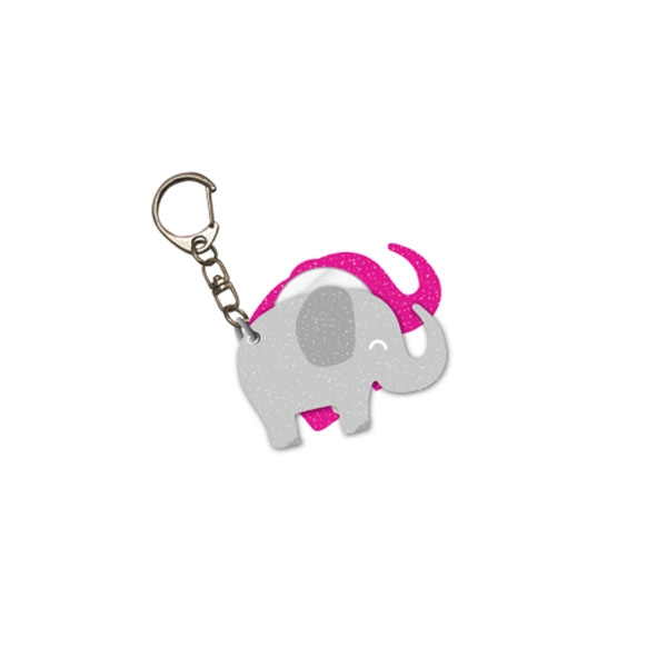 GLITTER ELEPHANT MIRROR KEYCHAIN