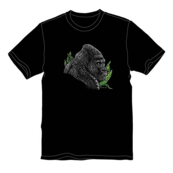 ADULT SHORT SLEEVE TEE GORILLA TEXT - BLACK