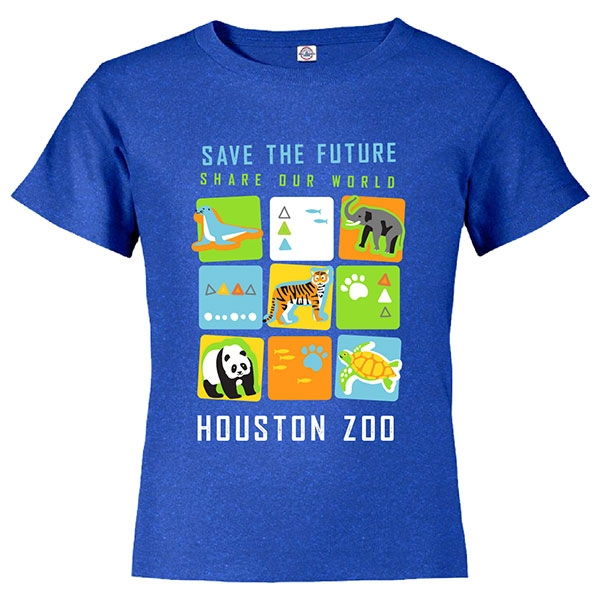 YOUTH SHORT SLEEVE TEE SAVE THE FUTURE CUBES - ROYAL BLUE