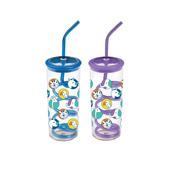 STACKING ZOO TWISTY STRAW CUP